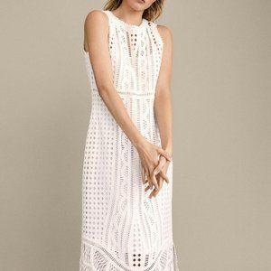 Massimo Dutti Womens Cotton Crochet Dress S White